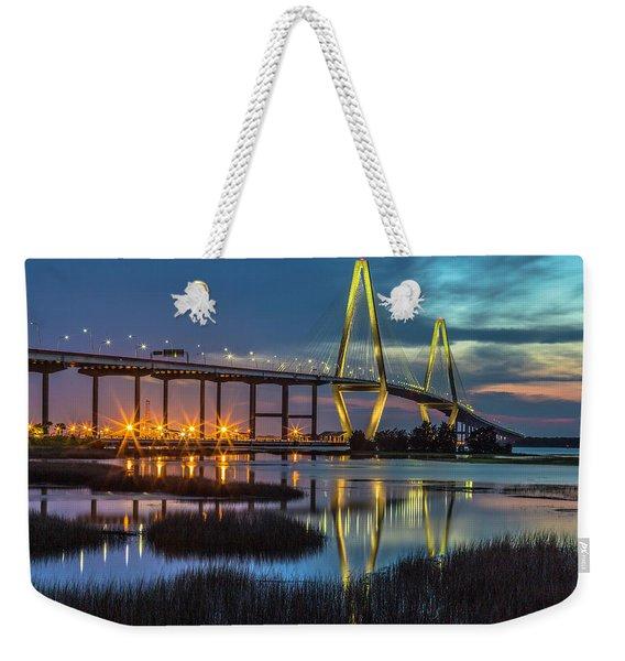 Ravenel Bridge Reflection Weekender Tote Bag