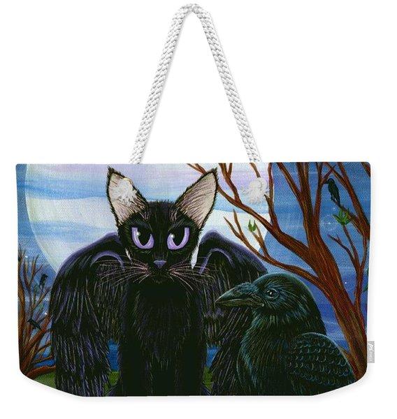 Raven's Moon Black Cat Crow Weekender Tote Bag