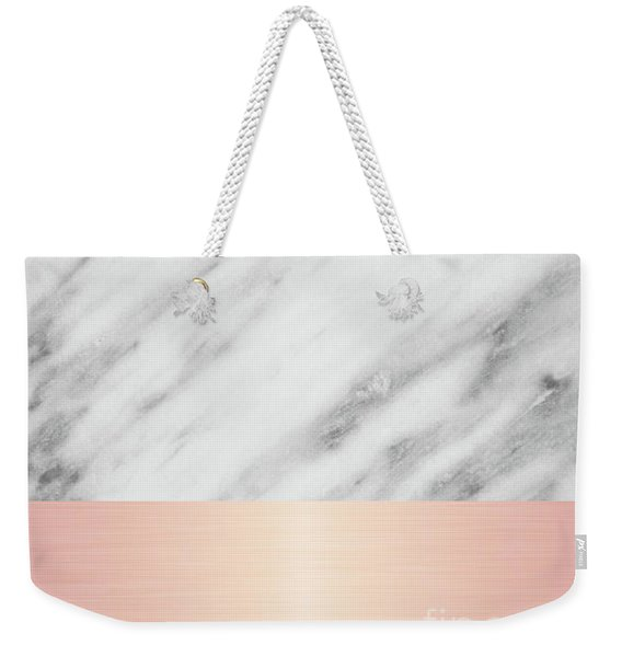 Real Italian Marble And Pink Weekender Tote Bag