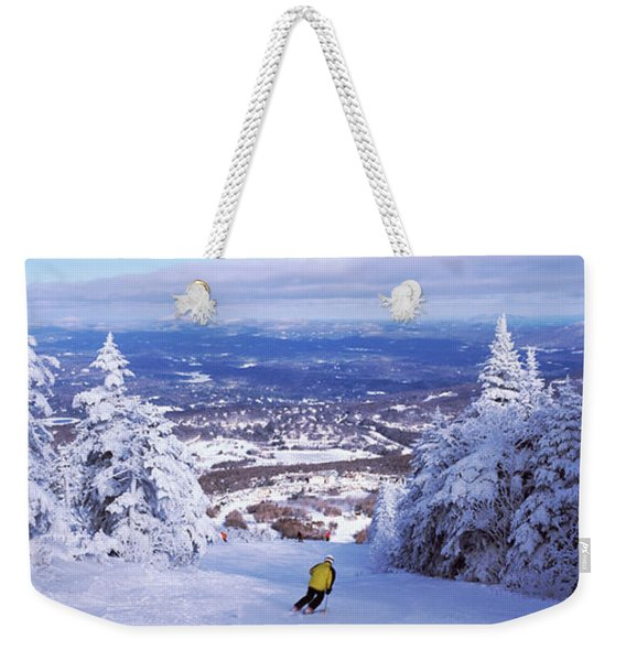 Rear View Of A Person Skiing, Stratton Weekender Tote Bag