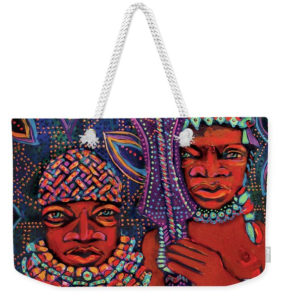 reCalling the Spirit Attendants with Paddles Weekender Tote Bag