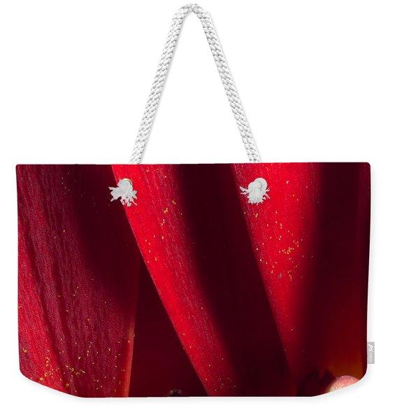 Golden Pollen Red Chrysanthemum Weekender Tote Bag