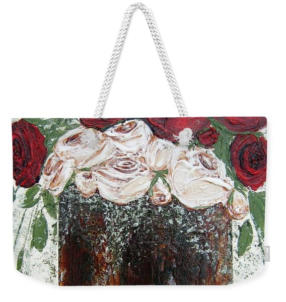 Red And Antique White Roses - Original Artwork Weekender Tote Bag