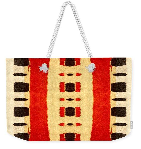 Red And Black Panel Number 1 Weekender Tote Bag