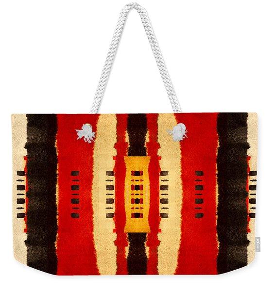 Red And Black Panel Number 4 Weekender Tote Bag