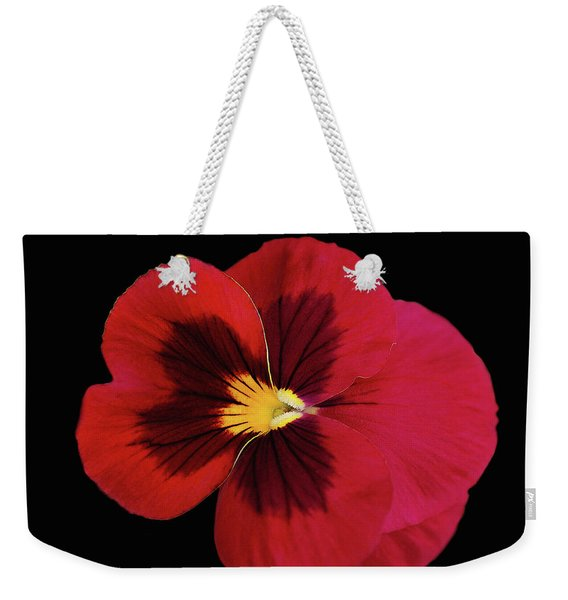 Red And Black Pansy Weekender Tote Bag
