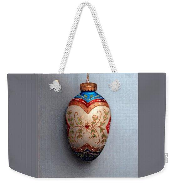 Red And Blue Filigree Egg Ornament Weekender Tote Bag