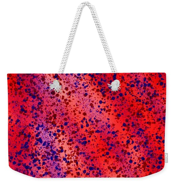 Red And Blue Splatter Abstract Weekender Tote Bag