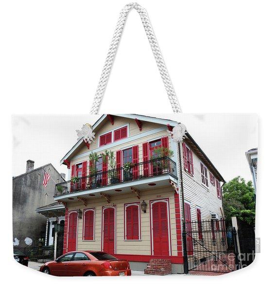 Red And Tan House Weekender Tote Bag