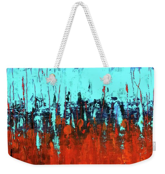 Red And Turquoise Abstract Weekender Tote Bag