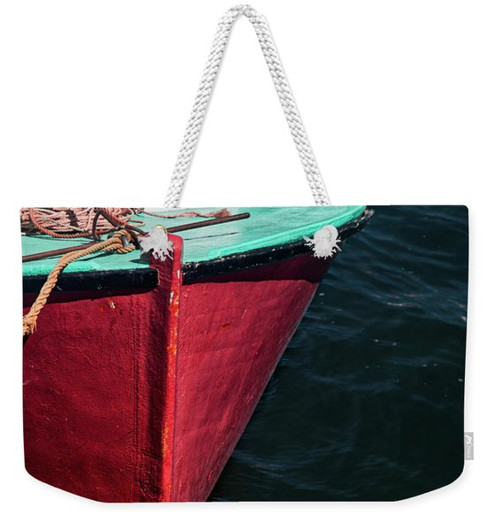 Red And Turquoise Fishing Boat Weekender Tote Bag
