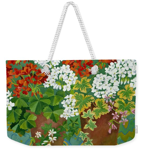Red And White Geraniums In Pots Weekender Tote Bag