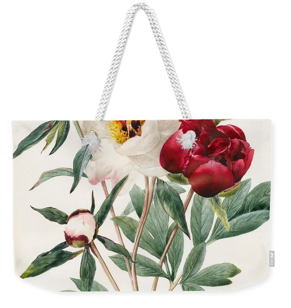 Red And White Herbaceous Peonies Weekender Tote Bag
