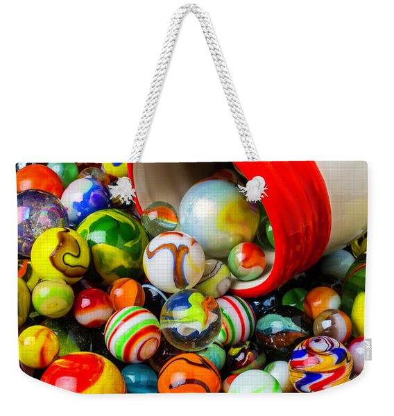 Red And White Jar With Marbles Weekender Tote Bag