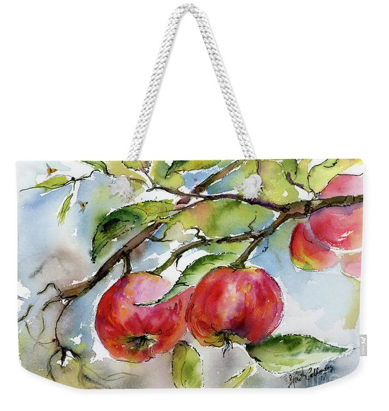 Red Apples And Bees Tree Branch Weekender Tote Bag