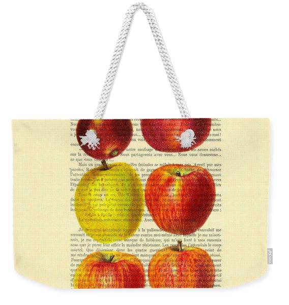 Red Apples Still Life Vintage Illustration Weekender Tote Bag