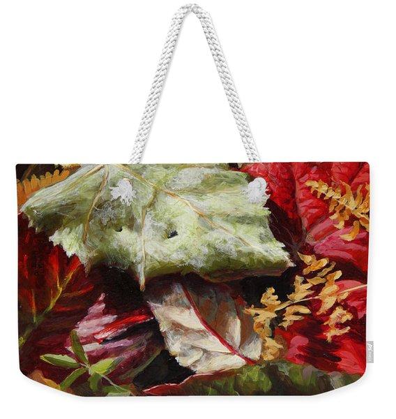 Red Autumn - Wasilla Leaves Weekender Tote Bag