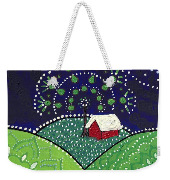 Red Barn At Night Weekender Tote Bag