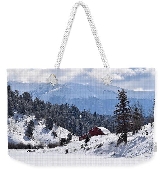 Weekender Tote Bag featuring the digital art Red Barn Burgess Reservoir Divide Co by Margarethe Binkley