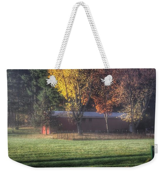 0041 - Red Barn On A Foggy Fall Morning Weekender Tote Bag