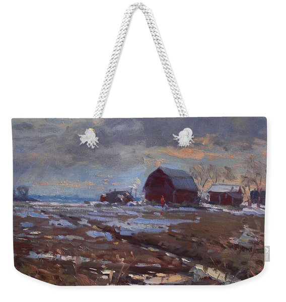 Red Barns In The Farm Weekender Tote Bag