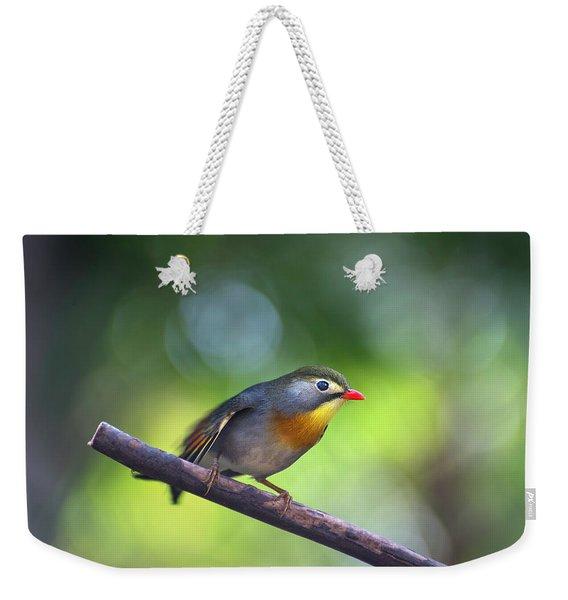 Red Billed Leiothrix Weekender Tote Bag