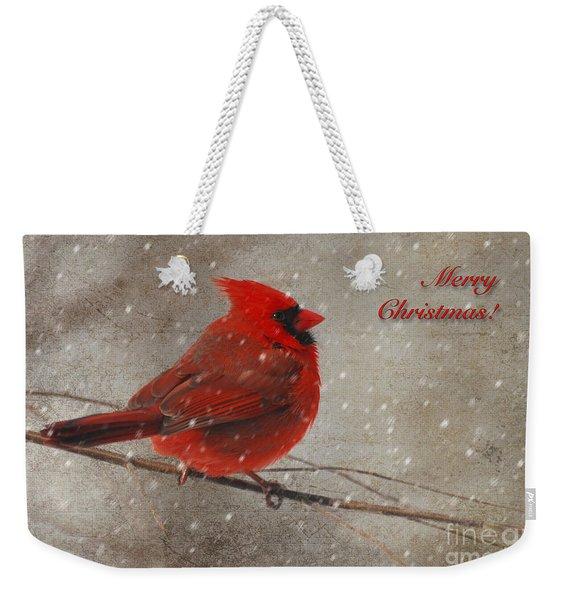Red Bird In Snow Christmas Card Weekender Tote Bag