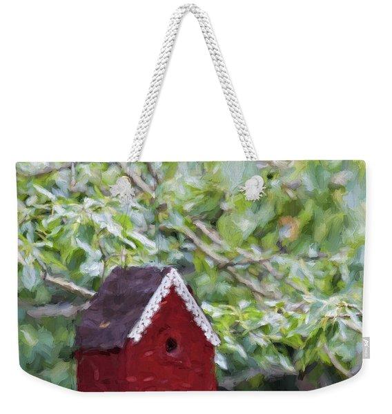 Red Birdhouse Painterly Effect Weekender Tote Bag