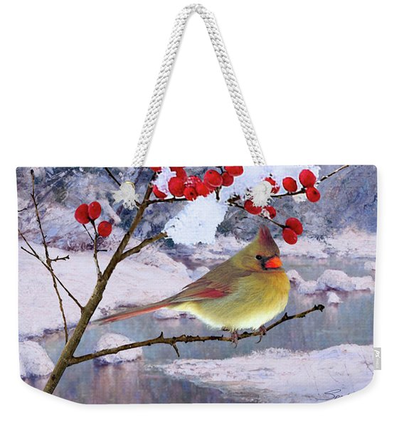 Red Birds Of Christmas Weekender Tote Bag