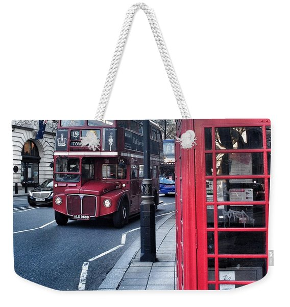 Red Bus In London  Weekender Tote Bag