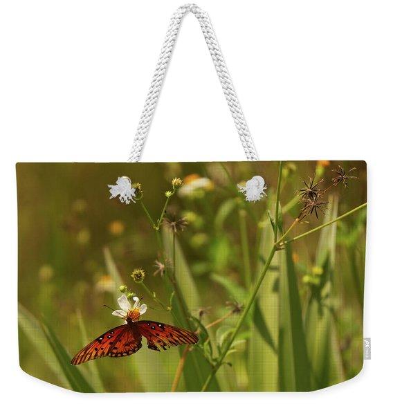 Red Butterfly In Daisy Field Weekender Tote Bag