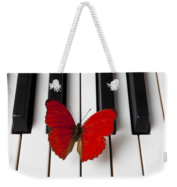 Red Butterfly On Piano Keys Weekender Tote Bag
