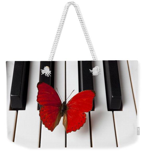 Red Butterfly On Piano Keys Weekender Tote Bag