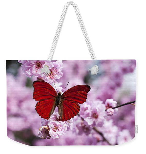 Red Butterfly On Plum  Blossom Branch Weekender Tote Bag
