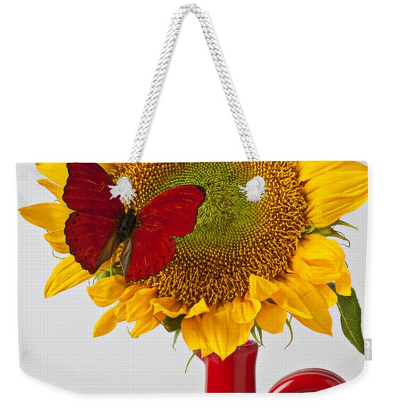 Red Butterfly On Sunflower On Red Pitcher Weekender Tote Bag