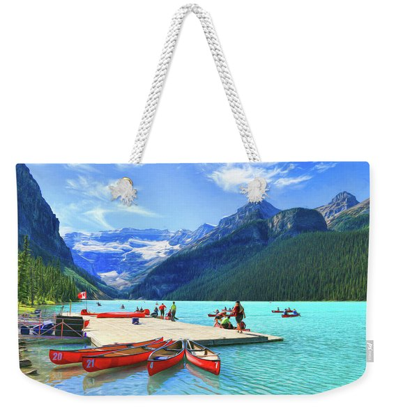 Red Canoes  Of Lake Louise - Banff National Park Canada Weekender Tote Bag