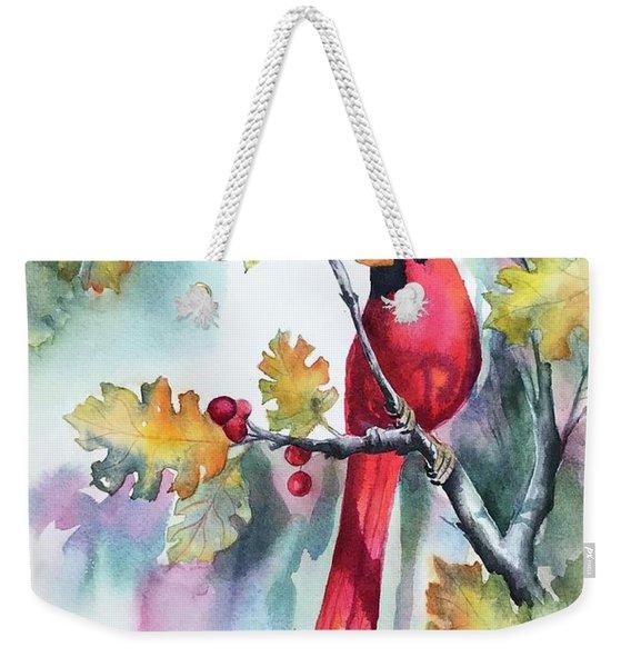 Red Cardinal With Berries Weekender Tote Bag