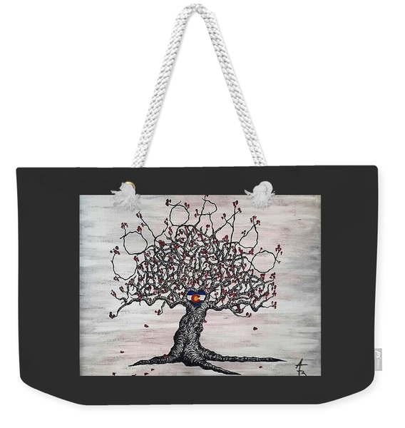 Weekender Tote Bag featuring the drawing Red Colorado Love Tree by Aaron Bombalicki