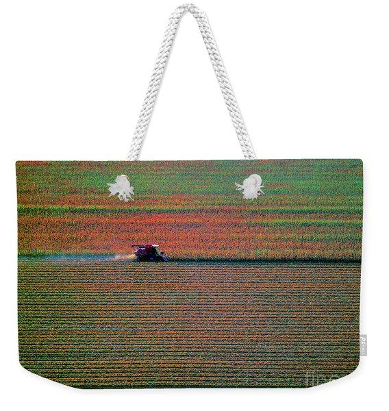 Red Combine Harvesting  Mchenry Aerial Weekender Tote Bag
