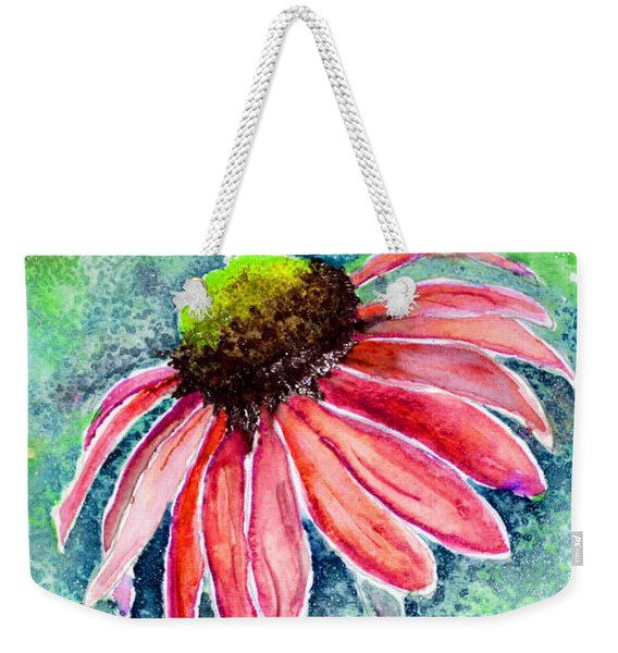Weekender Tote Bag featuring the painting Red Cone Flower 9-1-15 by Mas Art Studio