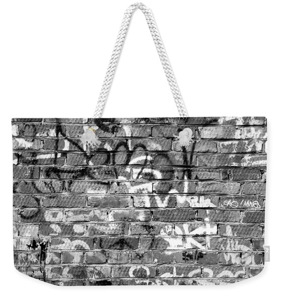 Red Construction Brick Wall And Spray Can Art Signatures Weekender Tote Bag