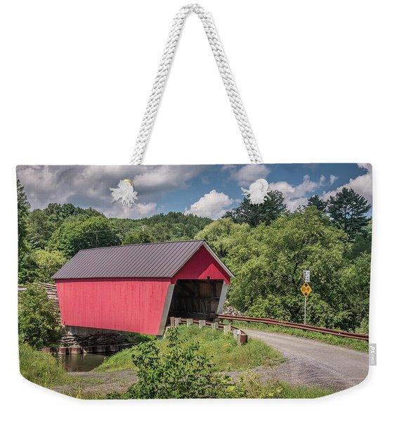 Red Covered Bridge Weekender Tote Bag