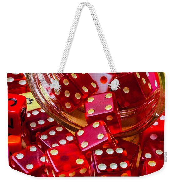 Red Dice Spilling Out Weekender Tote Bag