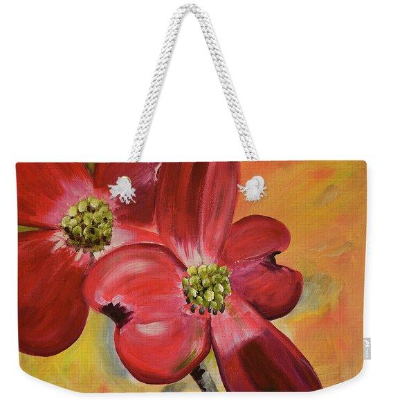 Red Dogwood - Canvas Wine Art Weekender Tote Bag