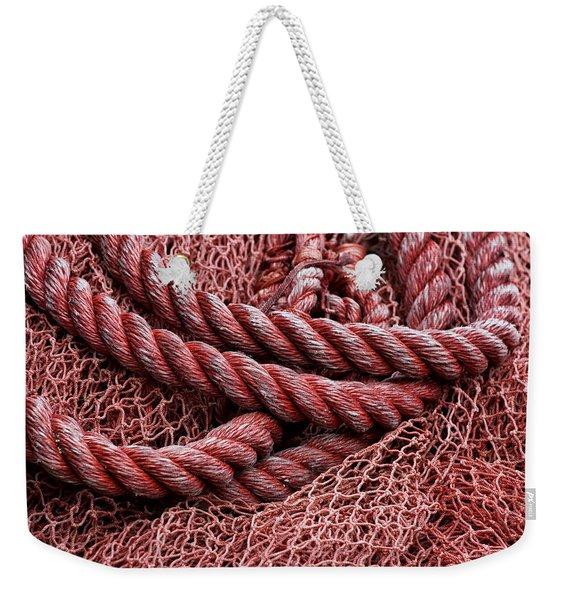 Red Fishing Net Detail Weekender Tote Bag