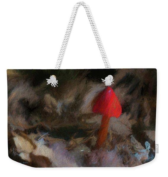 Red Forest Mushroom Weekender Tote Bag