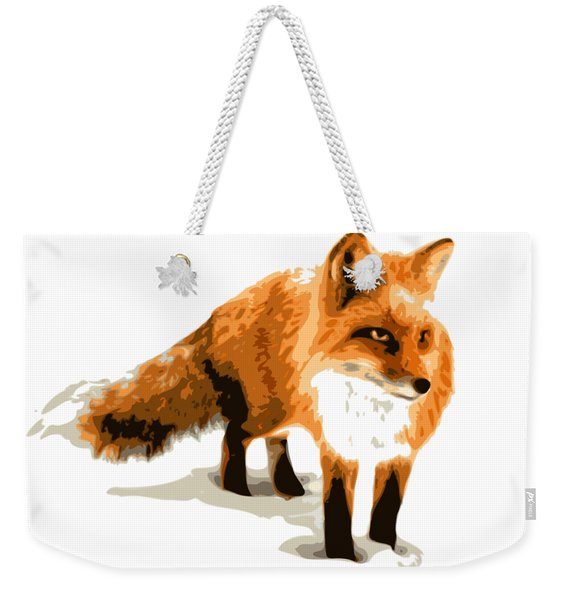 Red Fox In Winter Weekender Tote Bag