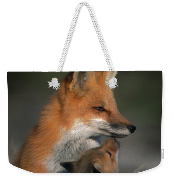 Red Fox Mother And Kits Weekender Tote Bag