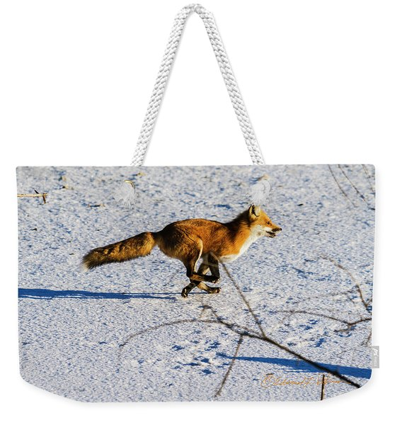 Red Fox On The Run Weekender Tote Bag