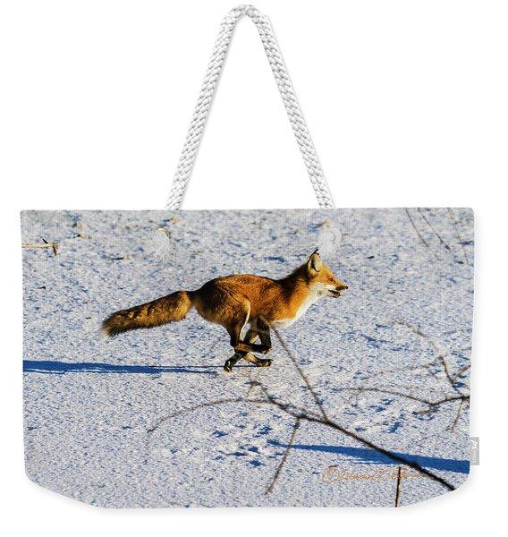 Red Fox On The Run Weekender Tote Bag